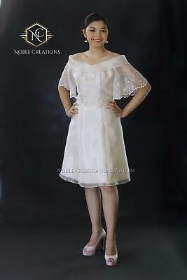 FILIPINIANA EMBROIDERED Off-Shoulder DRESS - Silk Maria Clara Philippines -Beige