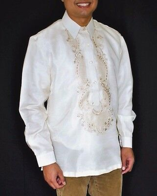 BARONG TAGALOG Filipino National Costume FILIPINIANA Formal Dress Men - Beige