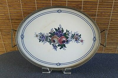 Waechtersbach Floral Handled Tray with Metal Gallery Rim