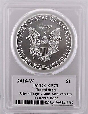 2016 W Burnished Silver Eagle 30th Anniv. PCGS SP70 Signed by John Mercanti