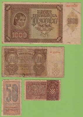 CROATIA - Lot - 4 banknotes - 1941-1942 - G/VG- Antique Old NDH Ustasa WWII