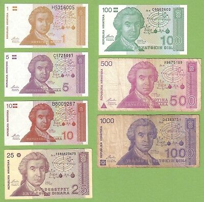 Croatia - Lot - 7 banknotes - 1991 - G+/UNC Paper Money Banknote Currency
