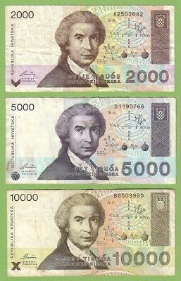 Croatia - Lot - 3 banknotes - 1992 - VG+/F+ Paper Money Banknote Currency