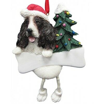 Springer Spaniel Dangling Wobbly Leg Dog Bone Christmas Ornament