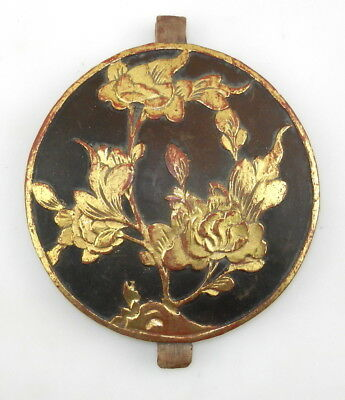 Chinese Asian HAND CARVED ROUND WOOD FLOWERS Wall Door PANEL Architectural   T15