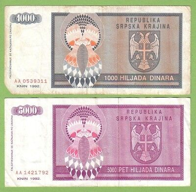 Croatia - Knin - Lot - 2 banknotes - 1992 - G/VG+ Paper Money Currency