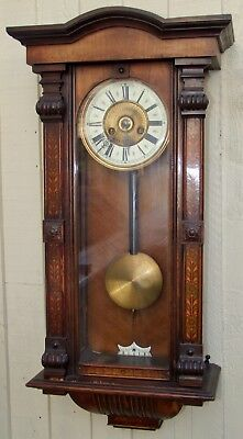 Very Decorative 19Th Century Vienna Wall Clock In Walnut
