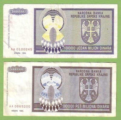Croatia - Knin - Lot - 2 banknotes - 1993 - VG-/VF Paper Money Currency