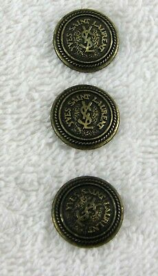 YSL Yves Saint Laurent Replacement Antique Brass Three Large Button Set B110