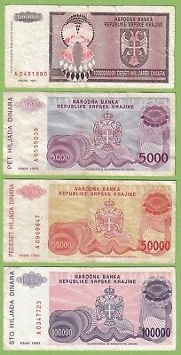 Croatia - Knin - Lot - 4 banknotes - 1993 - VG/F+ Paper Money Currency