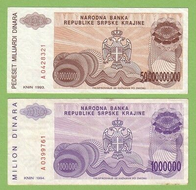 Croatia - Knin - Lot - 2 banknotes - 1993-1994 - VF-/VF+ Paper Money Currency