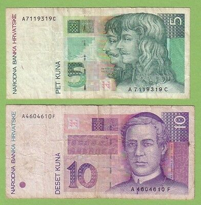 Croatia - Lot - 2 banknotes - 1993 - F/F+ Paper Money Currency