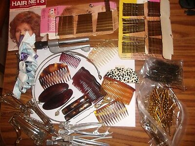 Lot Of Vintage Hair Accessories Junk Drawer Pro Curler Hair Pins Nets Barretts