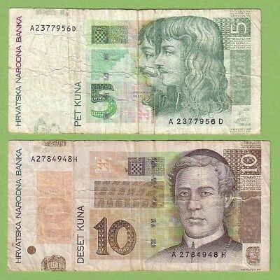 Croatia - Lot - 2 banknotes - 2001-2004 - VG/VG+ Paper Money Currency
