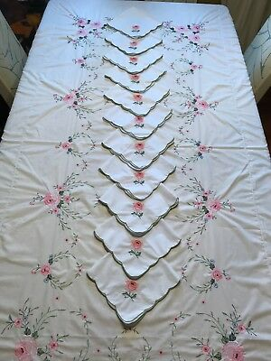 Fabulous White Embroidered Cotton Tablecloth With Flowers & Matching Napkins