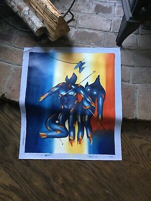 """Vtg 1960-70's French Art Oil Canvas 27""""x23"""" Painting Unframed Blue Man & Woman"""