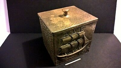 Antique 19th cent tea caddy hammered copper box naval sailing ship sea maritime