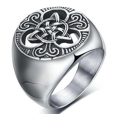 Retro Mens Stainless Steel Ring Round Celtic Knot Signet Rings US Size 7-15