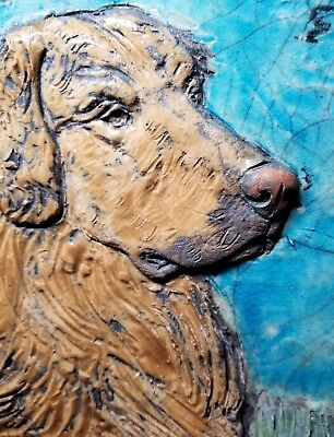"GOLDEN RETRIEVER DOG  3-DIMENSIONAL GLAZED PAINTING ON SLATE  10.5"" by 9"""