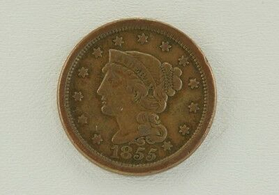 1855 Braided Hair Large Cent 'Slanted 5' Variety Great Details You Grade