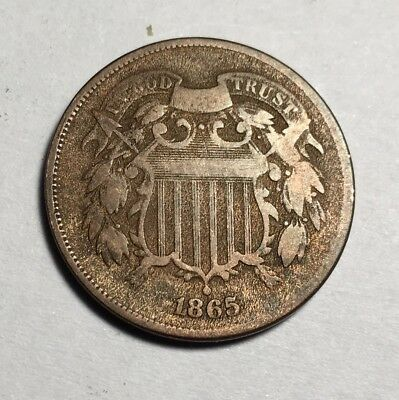 1865 U.s. Two Cent Piece - 90% Rotated Die