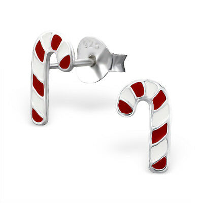 925 Sterling Silver Christmas Candy Cane Red White Kids Girls Stud Earrings