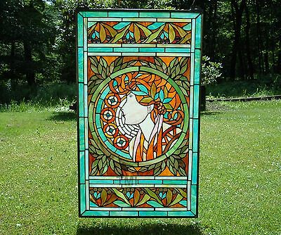 """20"""" x 34"""" deco girl Tiffany Style stained glass Jeweled window panel"""