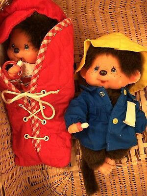 Vintage 1970s Boy Girl Monchichi Dolls with Sleeping Bag, Outfits, & Accessories