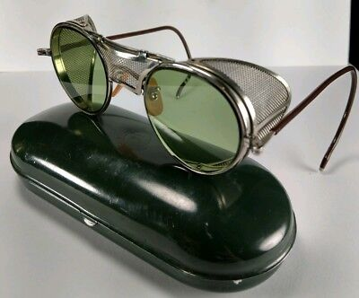 Vintage Steampunk Cosplay Bausch & Lomb Green Safety Glasses Motorcycle Goggles
