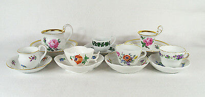 Antique Meissen Porcelain 7 Cups and 7 Saucers