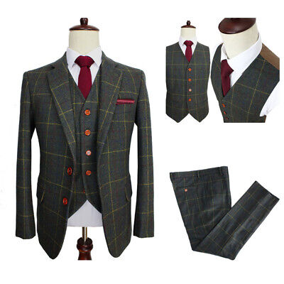 Classic Wool Blend Men 3 Pieces Herringbone Check Tan Dark Green Striped Blazer