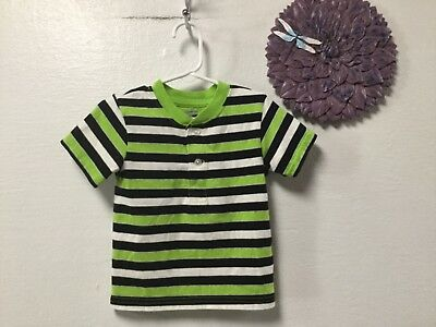 Baby boy shirt size 18 months green black white short sleeve Garanimals 166
