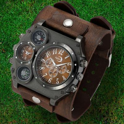 APHOTIC Watchmaker Dual Time Men Watch 100% Handmade Wide Cowhide Leather Strap