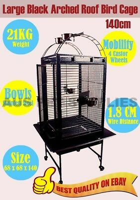 Pet Bird Parrot Canary Cage Castor Wheels Arched Roof Black Large 140CM
