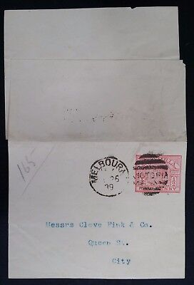 Scarce 1889- Victoria Australia 1/2d Rose pre printed Stamp Duty on Wrapper Used