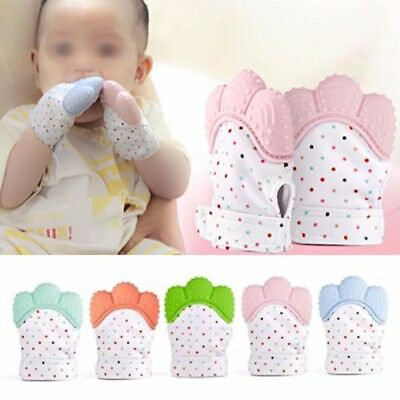 Baby Teething Mitten Teething Glove Silicone Wrapper Sound Teether Warm 5 Color