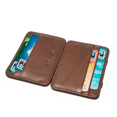 Men's REAL Leather Magic Money Clip Slim Wallet ID Credit Card Holder Case Purse