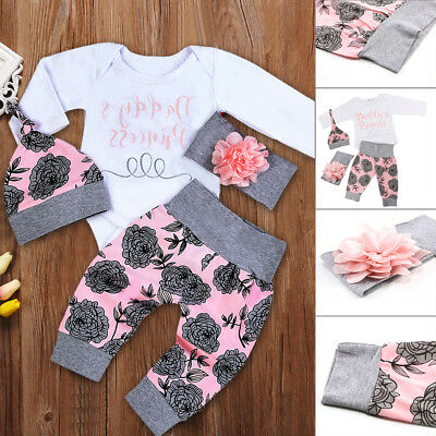UK Stock 4PCS Newborn Baby Girls Top Romper Long Pants Hat Outfits Clothes 0-24M