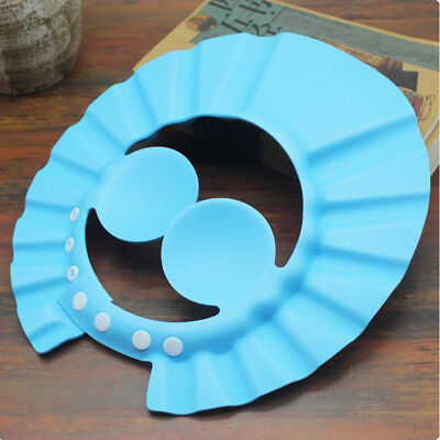 Practical Kids Bathing Shower Cap Round Hat Wash Hair Shield Protect Ears Blue