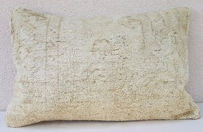 Antique Handwoven Low Pile Muted Color Oushak Ushak Rug Pillow Cover 16''x24''
