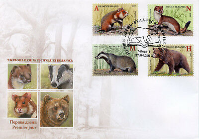 Belarus 2017 FDC Mammals Red Book Badgers Bears 4v Cover Wild Animals Stamps