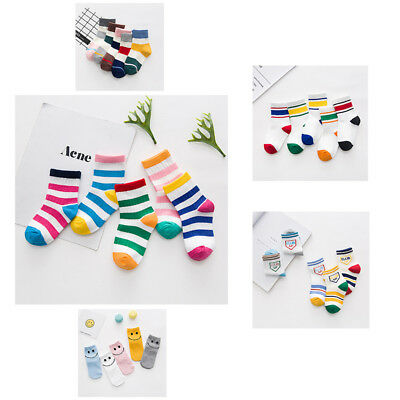 5 Pairs Fall Trend Baby Stripes Fight Color Breathable Warm Cotton Socks