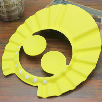 Practical Kids Bathing Shower Cap Round Hat Wash Hair Shield Protect Ears Yellow