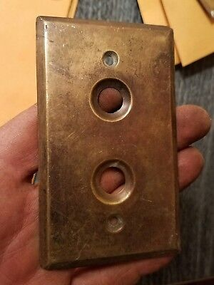 VINTAGE Cast BRASS PUSH BUTTON Electric LIGHT SWITCH Plate Wall Antique sp03