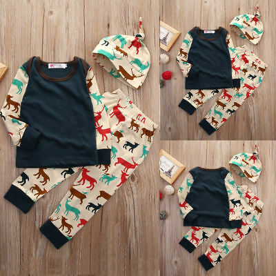 Newborn Infant Baby Boy Girl Long Sleeve Pants Hat Winter Outfit Set Clothes HOT
