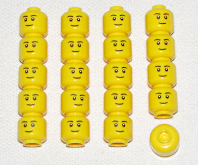 Lego Lot Of 20 New Minifigure Heads With Grin And White Eyes Men Town City