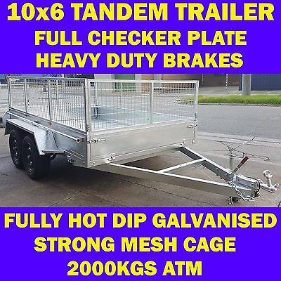10x6 fully galvanised box trailer tandem trailer with cage 2000kgs atm