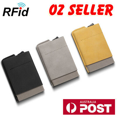 RFID Blocking Suede Leather W/ Aluminum Wallet ID Credit Card Holder Case AU