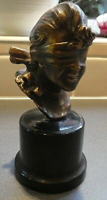 Lady Bronze Bust, Blind Man's Bluff Or Blind Justice, Giuseppe Renda, Unsigned