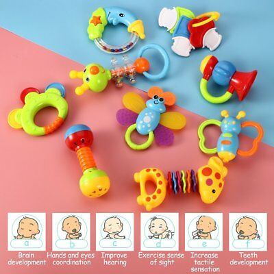 PREMIUM Rattle Teether Set Baby Toys Wishtime 9pcs Shake and Grap 0-12 Month